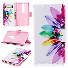 Недорогие Чехлы и кейсы для Nokia-Кейс для Назначение Nokia Nokia 6 2018 Nokia 5 Бумажник для карт Кошелек со стендом Флип С узором Чехол Цветы Твердый Кожа PU для Nokia 8