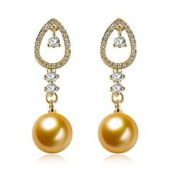 preiswerte Ohrringe-Damen Kubikzirkonia Süßwasserperle Tropfen-Ohrringe - Perle, Edelstahl, 18K Gold Modisch Gold Für Geschenk Party