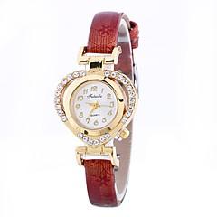 お買い得  レディース腕時計-女性用 ブレスレットウォッチ 中国 模造ダイヤモンド / カジュアルウォッチ PU バンド Heart Shape / ファッション ブラック / ブルー / レッド