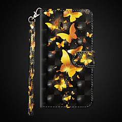 Недорогие Кейсы для iPhone X-Кейс для Назначение Apple iPhone X / iPhone 8 Plus Кошелек / Защита от удара / со стендом Чехол Бабочка Твердый Кожа PU для iPhone X /