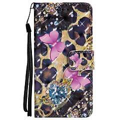 baratos Capinhas para Huawei-Capinha Para Huawei P20 lite P20 Porta-Cartão Carteira Com Suporte Flip Magnética Capa Proteção Completa Borboleta Rígida PU Leather para