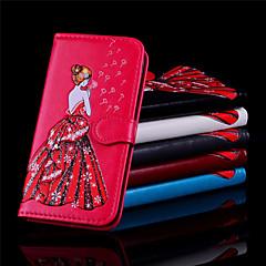 Недорогие Кейсы для iPhone X-Кейс для Назначение Apple iPhone X / iPhone 8 Бумажник для карт / Кошелек / Флип Чехол Соблазнительная девушка Твердый Кожа PU для iPhone