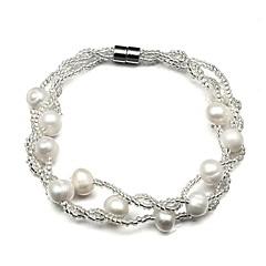 お買い得  ブレスレット-女性用 真珠 ブレスレット  -  真珠, 人造真珠 ドーナツ クラシック, ファッション ブレスレット ホワイト 用途 日常