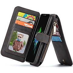 Недорогие Кейсы для iPhone 6 Plus-Кейс для Назначение Apple iPhone X / iPhone 7 Бумажник для карт / Кошелек / со стендом Чехол Однотонный Твердый Кожа PU для iPhone X /