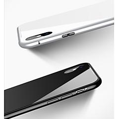 Недорогие Кейсы для iPhone X-Кейс для Назначение Apple iPhone X / iPhone 8 / iPhone 8 Plus Защита от удара / Магнитный Кейс на заднюю панель Однотонный Твердый Закаленное стекло / Алюминий для iPhone X / iPhone 8 Pluss / iPhone 8