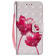 baratos Capinhas para Huawei-Capinha Para Huawei P20 lite P20 Porta-Cartão Carteira Com Suporte Flip Magnética Capa Proteção Completa Flor Rígida PU Leather para