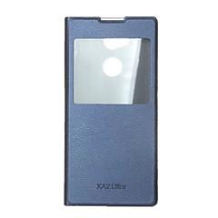 Недорогие Чехлы и кейсы для Sony-Кейс для Назначение Sony Xperia XA2 Ultra / Xperia XA2 со стендом / с окошком / Флип Чехол Однотонный Твердый Кожа PU для Xperia XA2 Ultra / Xperia XA2