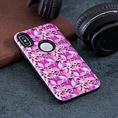 Недорогие Кейсы для iPhone 5-Кейс для Назначение Apple iPhone X / iPhone 8 Защита от удара / Рельефный / С узором Кейс на заднюю панель Цветы Твердый ПК для iPhone X