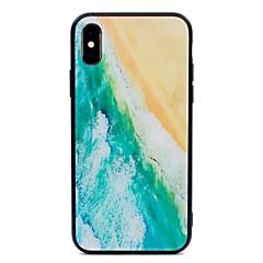 Недорогие Кейсы для iPhone 6-Кейс для Назначение Apple iPhone X / iPhone 8 С узором Кейс на заднюю панель Пейзаж Твердый Закаленное стекло для iPhone X / iPhone 8