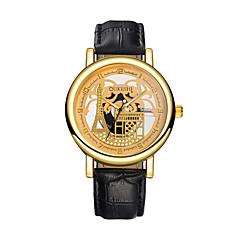 お買い得  メンズ腕時計-男性用 リストウォッチ 中国 透かし加工 / カジュアルウォッチ レザー バンド エッフェル塔 / ファッション ブラック / ブラウン