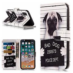 Недорогие Кейсы для iPhone-Кейс для Назначение Apple iPhone X / iPhone 8 Plus Кошелек / Бумажник для карт / со стендом Чехол С собакой / Слова / выражения Твердый Кожа PU для iPhone X / iPhone 8 Pluss / iPhone 8