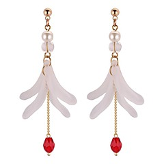 preiswerte Ohrringe-Damen Synthetischer Tansanit Lang Tropfen-Ohrringe - Künstliche Perle Stilvoll Schwarz / Rot / Grün Für Schultaschen / Geburtstag