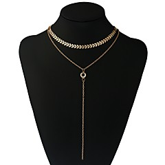 preiswerte Halsketten-Damen Gliederkette Y Halskette  -  Blattform Romantisch Gold, Silber 30 cm Modische Halsketten 1pc Für Party, Geburtstag