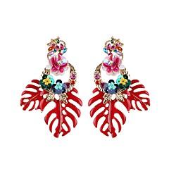 preiswerte Ohrringe-Damen Tropfen-Ohrringe - Blattform, Blume Europäisch, Modisch Rot / Grün / Leicht Rosa Für Alltag / Büro & Karriere
