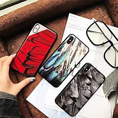 Недорогие Кейсы для iPhone 7-Кейс для Назначение Apple iPhone X / iPhone 8 С узором Кейс на заднюю панель Перья Твердый Закаленное стекло для iPhone X / iPhone 8 Pluss / iPhone 8