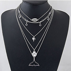 preiswerte Halsketten-Damen Mehrschichtig Layered Ketten  -  Meerjungfrau, Hülle Europäisch, Modisch Silber 30 cm Modische Halsketten 1pc Für Alltag