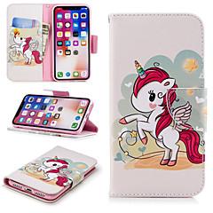 Недорогие Кейсы для iPhone-Кейс для Назначение Apple iPhone X / iPhone 8 Plus Кошелек / Бумажник для карт / со стендом Чехол единорогом Твердый Кожа PU для iPhone X / iPhone 8 Pluss / iPhone 8