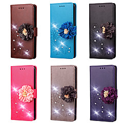abordables Carcasas / Fundas para HTC-Funda Para HTC U Ultra / HTC U Play Cartera / Soporte de Coche / Diamantes Sintéticos Funda de Cuerpo Entero Un Color / Flor Dura Cuero de PU para HTC U11 / HTC U Ultra / HTC U Play