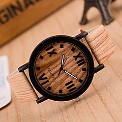 preiswerte Damenuhren-Damen Armbanduhr Chinesisch Armbanduhren für den Alltag Leder Band Modisch / Holz Schwarz / Braun / Grau