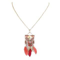 preiswerte Halsketten-Damen Lang Anhängerketten  -  Feder Retro, Ethnisch, Modisch Rot, Blau, Leicht Grün 35 cm Modische Halsketten 1pc Für Alltag, Schultaschen