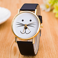お買い得  レディース腕時計-女性用 リストウォッチ 中国 かわいい レザー バンド カジュアル / ファッション ブラック / 白