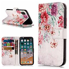 Недорогие Кейсы для iPhone 6-Кейс для Назначение Apple iPhone X / iPhone 8 Plus Кошелек / Бумажник для карт / со стендом Чехол Цветы Твердый Кожа PU для iPhone X / iPhone 8 Pluss / iPhone 8