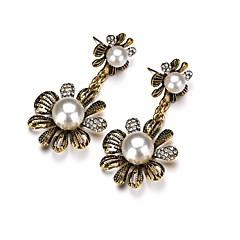 preiswerte Ohrringe-Damen Skulptur Tropfen-Ohrringe - Künstliche Perle Blume Modisch, Boho Messing Für Party / Abend / Festtage