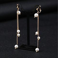 abordables Pendientes-Mujer Diamante sintético Pendientes con clip - Tropical, Elegante Blanco Para Fiesta / Fiesta / Noche