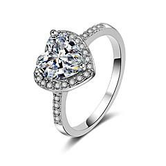 preiswerte Ringe-Damen Kubikzirkonia 3D Bandring - Herz Modisch 5 / 6 / 7 Silber Für Geschenk / Valentinstag