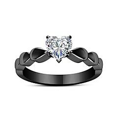 preiswerte Ringe-Paar Kristall Vintage Stil Eheringe / Verlobungsring - Herzförmig Süß, Modisch, Elegant 6 / 7 / 8 Schwarz Für Verlobung / Geschenk