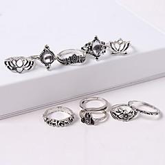preiswerte Ringe-Damen Retro Ring-Set - Krone, Lotus Retro, Europäisch, Modisch Silber Für Strasse / 10 Stück