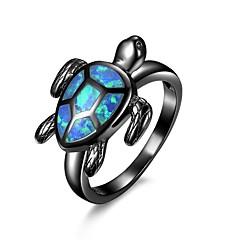 preiswerte Ringe-Damen Synthetischer Opal Lasso Statement-Ring - vergoldet Einzigartiges Design, Zeichentrick, Modisch 6 / 7 / 8 Schwarz Für Verlobung / Arbeit