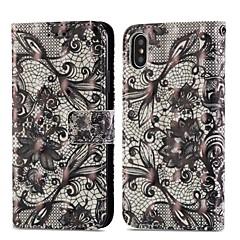 Недорогие Кейсы для iPhone-Кейс для Назначение Apple iPhone X / iPhone 8 Plus Кошелек / Бумажник для карт / со стендом Чехол Кружева Печать Твердый Кожа PU для iPhone X / iPhone 8 Pluss / iPhone 8