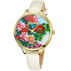 preiswerte Damenuhren-Geneva Damen Armbanduhr Chinesisch Neues Design / Armbanduhren für den Alltag / Cool Leder Band Freizeit / Modisch Braun / Lila / Gelb / Ein Jahr