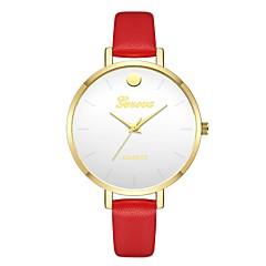 お買い得  レディース腕時計-Geneva 女性用 リストウォッチ 中国 新デザイン / カジュアルウォッチ / クール レザー バンド カジュアル / ファッション レッド / ブラウン / ベージュ