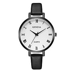 preiswerte Damenuhren-Geneva Damen Armbanduhr Quartz Neues Design Armbanduhren für den Alltag Cool Leder Band Analog Freizeit Modisch Schwarz / Braun / Lila - Schwarz / Braun Braun Schwarz / Weiß Ein Jahr