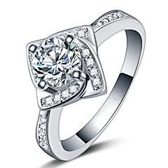 preiswerte Ringe-Damen Kubikzirkonia Stilvoll Ring - Platiert Blume Koreanisch 6 / 7 / 8 Silber Für Geschenk / Büro & Karriere