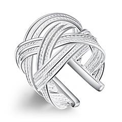 お買い得  指輪-女性用 ステートメントリング  -  銀メッキ オープン ワンサイズ シルバー 用途 パーティー