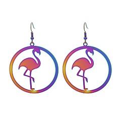 preiswerte Ohrringe-Damen Tropfen-Ohrringe - Edelstahl Flamingo Luxus, Tattoo Stil, Anime Regenbogen Für Geschenk Party
