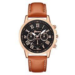 preiswerte Damenuhren-Geneva Damen Armbanduhr Chinesisch Neues Design / Armbanduhren für den Alltag / Cool Leder Band Freizeit / Modisch Schwarz / Braun / Ein Jahr