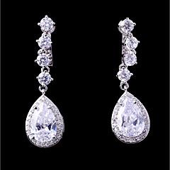 preiswerte Ohrringe-Damen Kubikzirkonia Stilvoll Klips - Tropfen Modisch, Elegant Weiß Für Hochzeit / Party