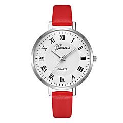 preiswerte Damenuhren-Geneva Damen damas Armbanduhr Quartz Neues Design Armbanduhren für den Alltag Cool Leder Band Analog Freizeit Modisch Rot / Lila / Beige - Beige Purpur Rot Ein Jahr Batterielebensdauer