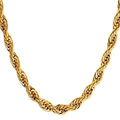 abordables Collares-Hombre Cuerda Gargantillas / Collar - Acero inoxidable Dorado, Negro, Plata 55 cm Gargantillas 1pc Para Regalo, Diario