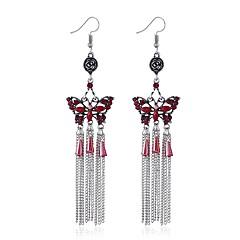 preiswerte Ohrringe-Damen Diamant Quaste Tropfen-Ohrringe - Einfach, Retro, Punk Rot / Grün / Blau Für Abschluss / Valentinstag