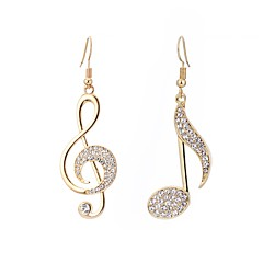 cheap Earrings-Women's Cubic Zirconia Mismatched Mismatch Earrings - Music Notes Simple, Casual / Sporty, French Gold / Silver / Rose For Carnival Work