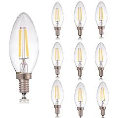 preiswerte LED-Birnen-10 Stück 2 W 180 lm E14 LED Glühlampen C35 2 LED-Perlen COB Dekorativ Warmes Weiß / Kühles Weiß 220-240 V