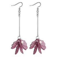 preiswerte Ohrringe-Damen Lang Tropfen-Ohrringe - Künstliche Perle Kreativ Retro, Ethnisch, Modisch Purpur / Grün / Rosa Für Party / Ausgehen