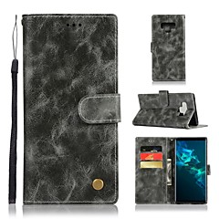 Недорогие Чехлы и кейсы для Galaxy Note 5-Кейс для Назначение SSamsung Galaxy Note 9 / Note 8 Кошелек / Бумажник для карт / со стендом Чехол Однотонный Твердый Кожа PU для Note 9 / Note 8 / Note 5