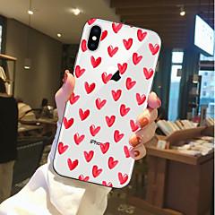 Недорогие Кейсы для iPhone 6-Кейс для Назначение Apple iPhone X / iPhone 8 Прозрачный / С узором Кейс на заднюю панель С сердцем Мягкий ТПУ для iPhone X / iPhone 8 Pluss / iPhone 8