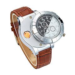 preiswerte Herrenuhren-Herrn Armbanduhr Japanisch Chronograph / Kreativ / Neues Design PU Band Luxus / Armreif Schwarz / Braun